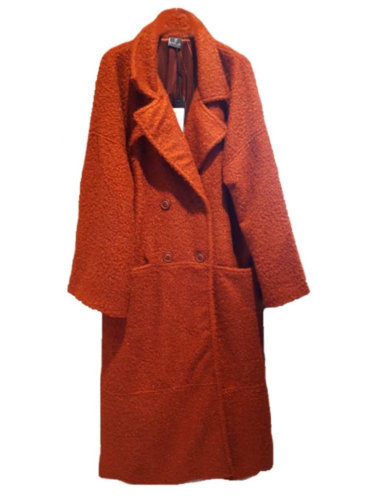 Lux μπουκλέ Plus Size  παλτό με τσέπες και εσωτερική φόδρα EKAI