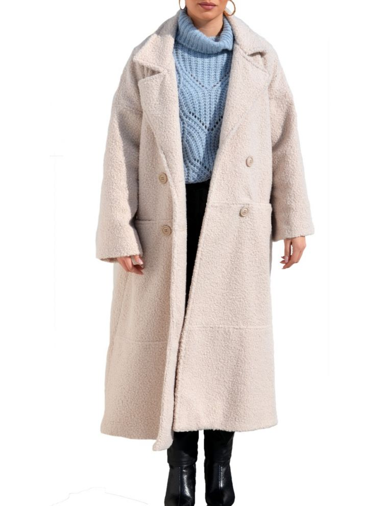 Lux Μπουκλέ Plus Size Παλτό με τσέπες και εσωτερική φόδρα -KREM-OneSize(up to 2XL)