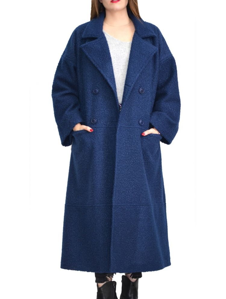 Lux Μπουκλέ Plus Size Παλτό με τσέπες και εσωτερική φόδρα