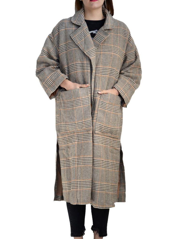 Καρό παλτό με τσέπες Cylia-OneSize(up to 2XL)