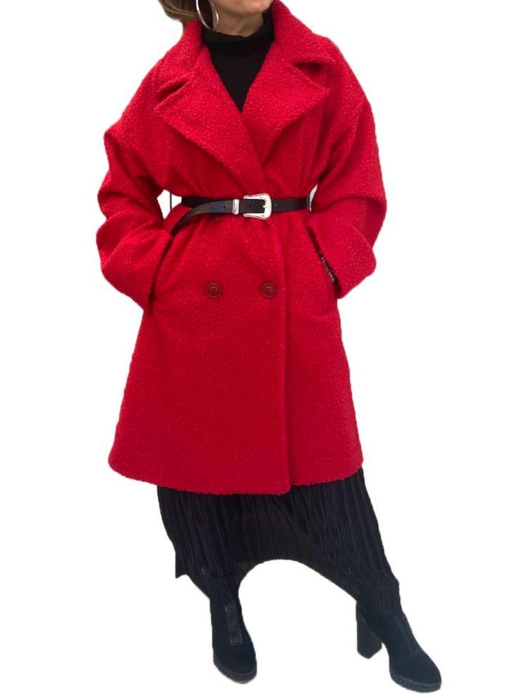Κοντό μπουκλέ παλτό με τσέπες-OneSize(up to 2XL)