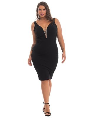 Midi Φόρεμα με Διαφάνεια Στο Ντεκολτέ