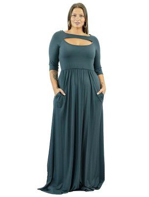 Plus Size Μάξι φόρεμα με cut-out στήθος