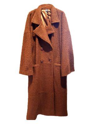 Lux Μπουκλέ Plus Size Παλτό με τσέπες και εσωτερική φόδρα MOKA