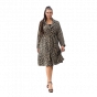 Plus Size Ζακάρ Παλτό με ζώνη & τσέπες ΛΕΟΠΑΡ