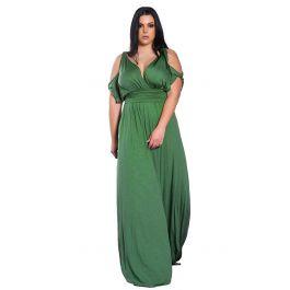 Μονόχρωμο maxi φόρεμα με cut outs στα μανίκια