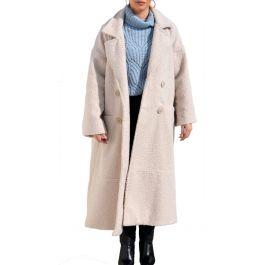 Lux Μπουκλέ Plus Size Παλτό με τσέπες και εσωτερική φόδρα -KREM
