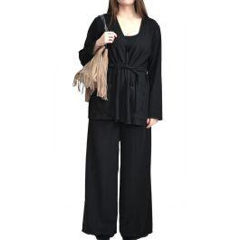 Μπροκάρ Σετ Ζακέτα-Παντελόνι με Δέσιμο στη Μέση ARO