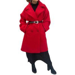 Κοντό μπουκλέ παλτό με τσέπες Κόκκινο