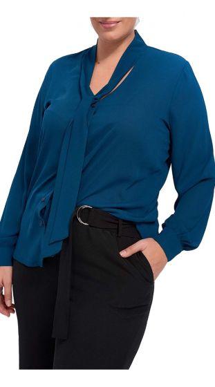 Μονόχρωμη Μπλούζα με δέσιμο στο λαιμό