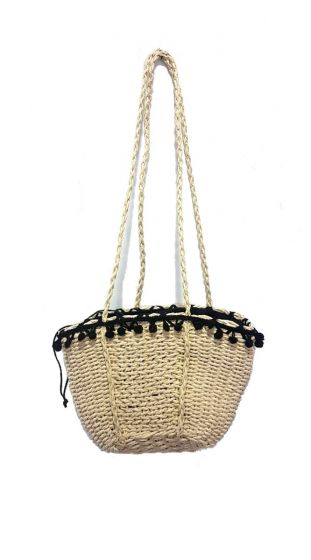 Ψάθινη Τσάντα με pom poms