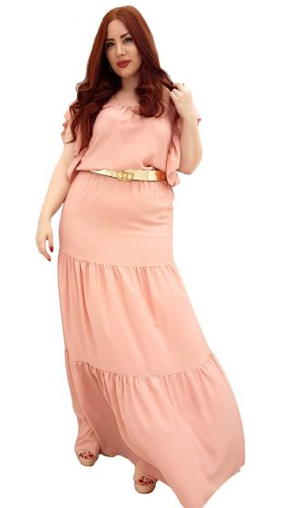 Μάξι φόρεμα με λεπτομέρειες βολάν