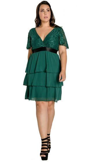 Μονόχρωμο Φόρεμα με δαντέλα & τελείωμα Βολάν