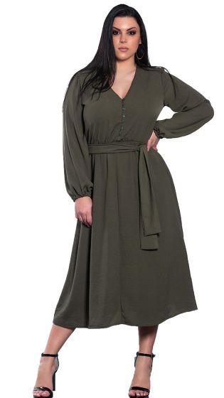 Μονόχρωμο midi φόρεμα με κουμπιά και ζώνη