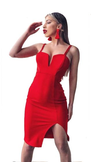 Midi φόρεμα με ντεκολτέ Daniela