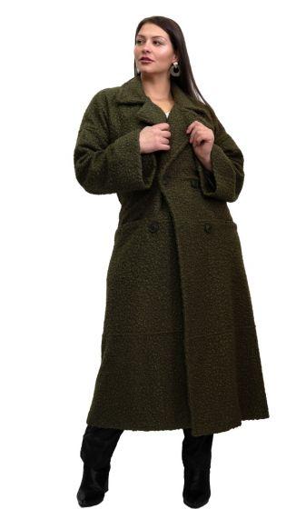 Lux Μπουκλέ Plus Size Παλτό με τσέπες και εσωτερική φόδρα ΧΑΚΙ