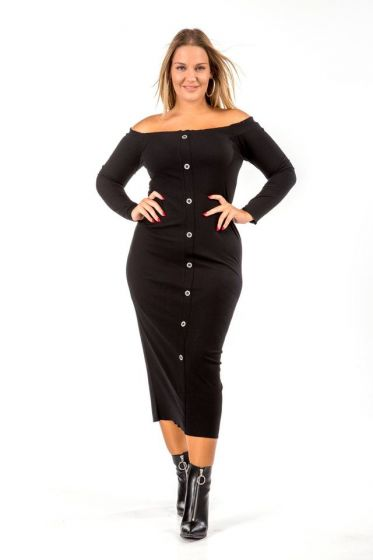 Midi bardot φόρεμα με κουμπιά