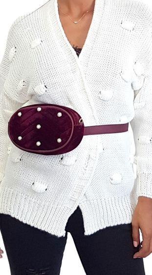 Βελουτέ Belt Bag με Πέρλες