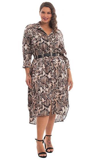 Maxi Φόρεμα Σεμιζιέ με Animal Print