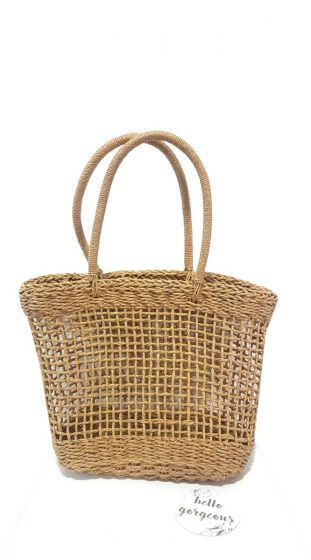 Ψάθινη τετράγωνη τσάντα ώμου