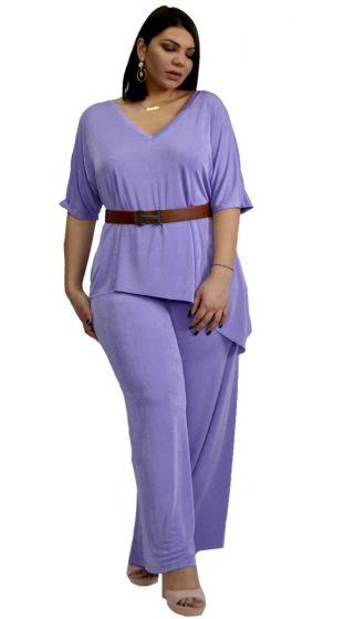 Ασορτί Σετ Ασύμμετρη Μπλούζα με V στο στήθος και Παντελόνα
